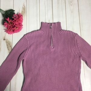Pink/Purple Turtleneck Sweater w Zipper